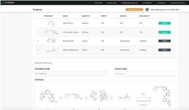 Chemist selects building block sources and reagent procurement via the Strateos Platform